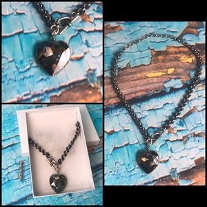 Crystal Heart Leather Chain Necklace